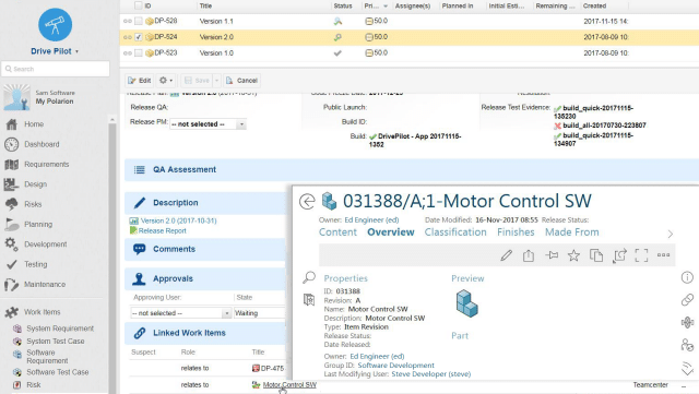 Screenshot of ALM-PLM Interoperability