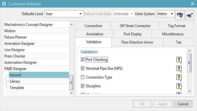 P&ID Designer: Connectivity Validation in NX
