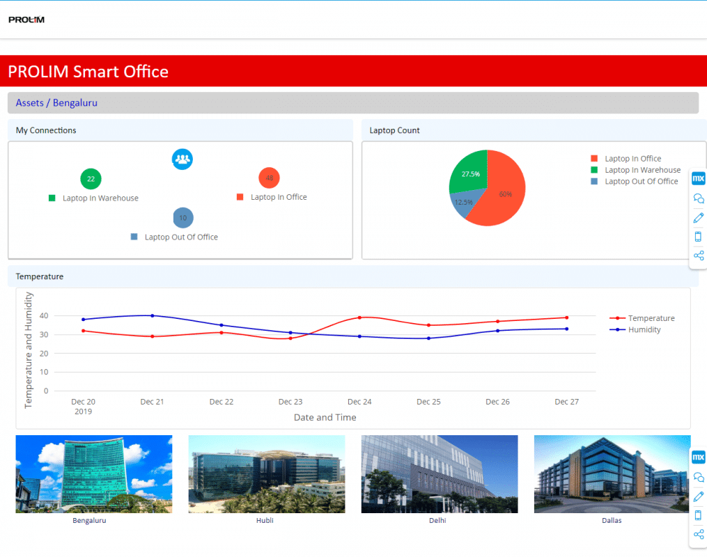 Mendix Smart Office application dashboard
