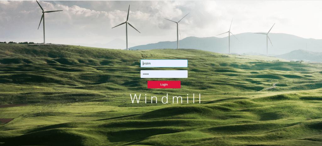 Mendix Windmill monitoring login page
