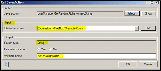 Character Count as Input and set the Return value in Mendix Java action