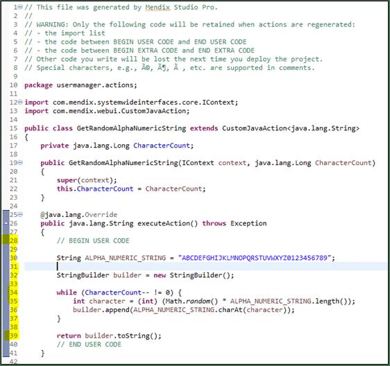 Tailored Java operation in Mendix