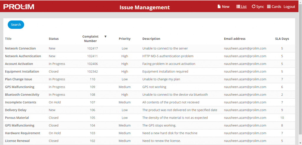 Viewing Issue List in Mendix Issue Management