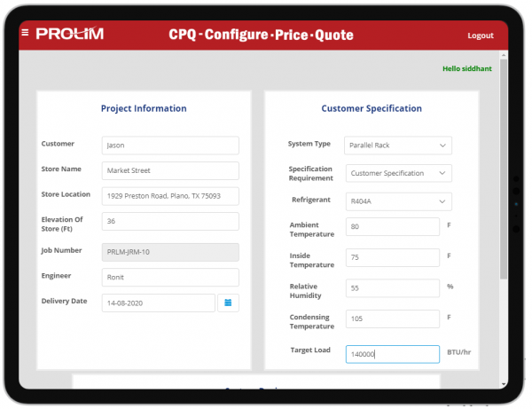 Mendix CPQ captures Customer details such as customer name, location and delivery date