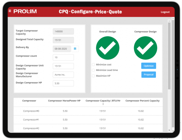 Mendix CPQ Proposal view includes the analysis stage of the defined requirements