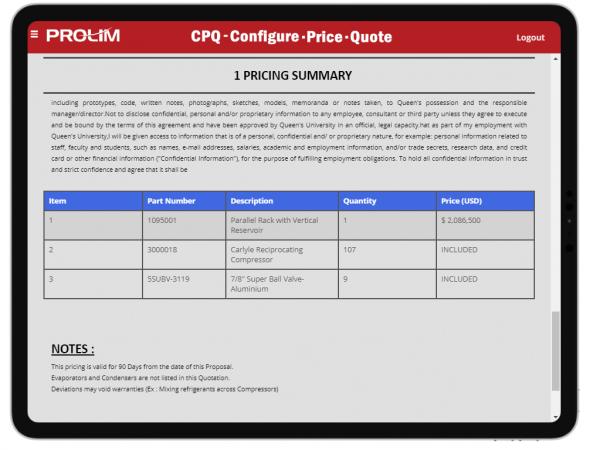 CPQ using Mendix displays Pricing a proposal