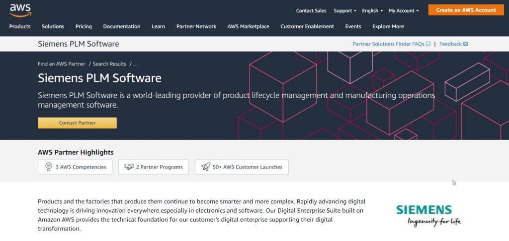 Siemens PLM Software AWS