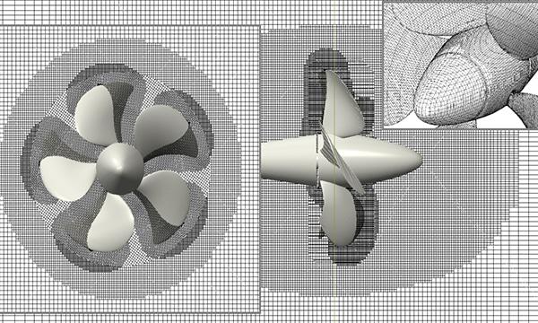 Mesh around propeller with local mesh refinement