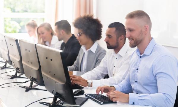 Computer training classroom group