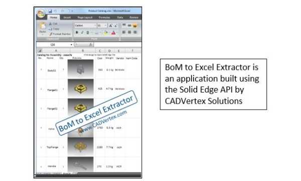 Application example: Bill of Materials to Excel report output