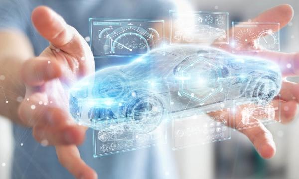 Car Digital UI smart 3D car hands holding